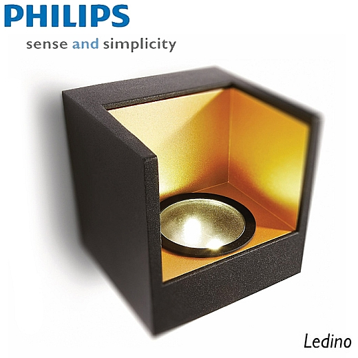 philips ledino wandleuchte 2x2 5w 69086 30 16 schwarz gold led leuchten styled. Black Bedroom Furniture Sets. Home Design Ideas