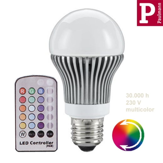 LED AGL 5x1W RGB E27 remote