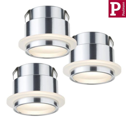 Einbauleuchten-Set Star Line LED Step 1W Alu Satin 3er Set Paulmann